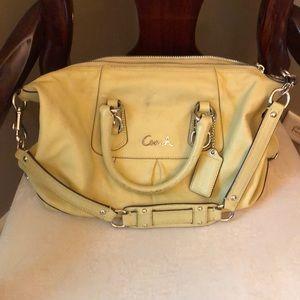 Super cute yellow Coach satchel needs a little TLC
